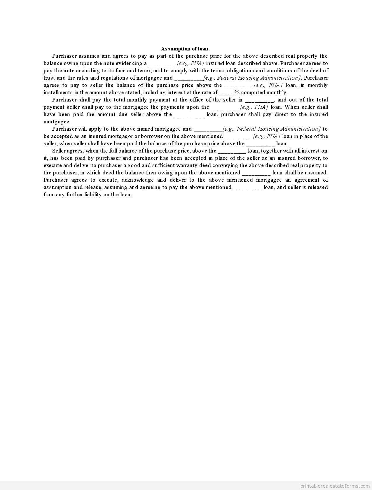 Free Printable Assumption of loan. Form (PDF & WORD)