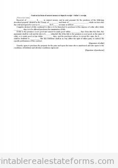 Contract in Form of Earnest Money or Deposit Receipt-Seller