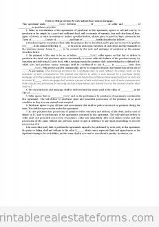Contract with Provisions for Note and Purchase Money Mortgag
