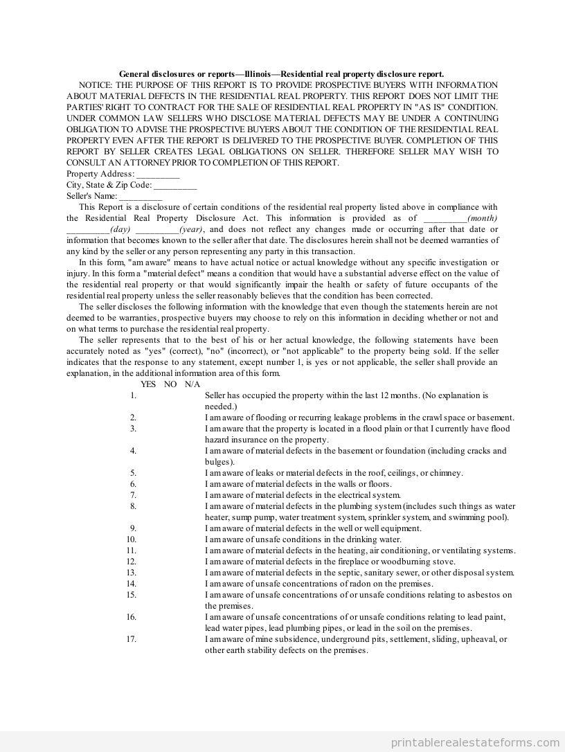 il or illinois real estate disclosure form printable