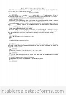 Notice Of Unsatisfactory Conditions Upon Inspection