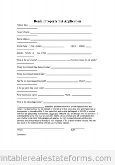 Free Printable Rental Agreement Forms - Pet Application