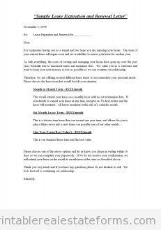 Sample Lease Expiration and Renewal Letter - Standard