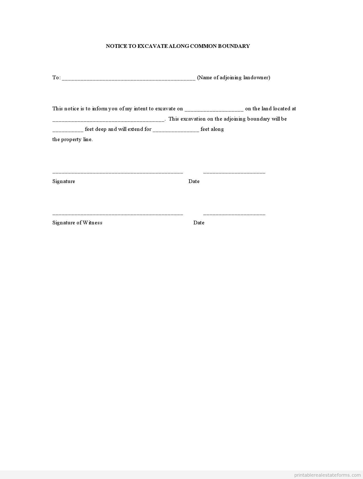 notice to excavate along common boundary template form