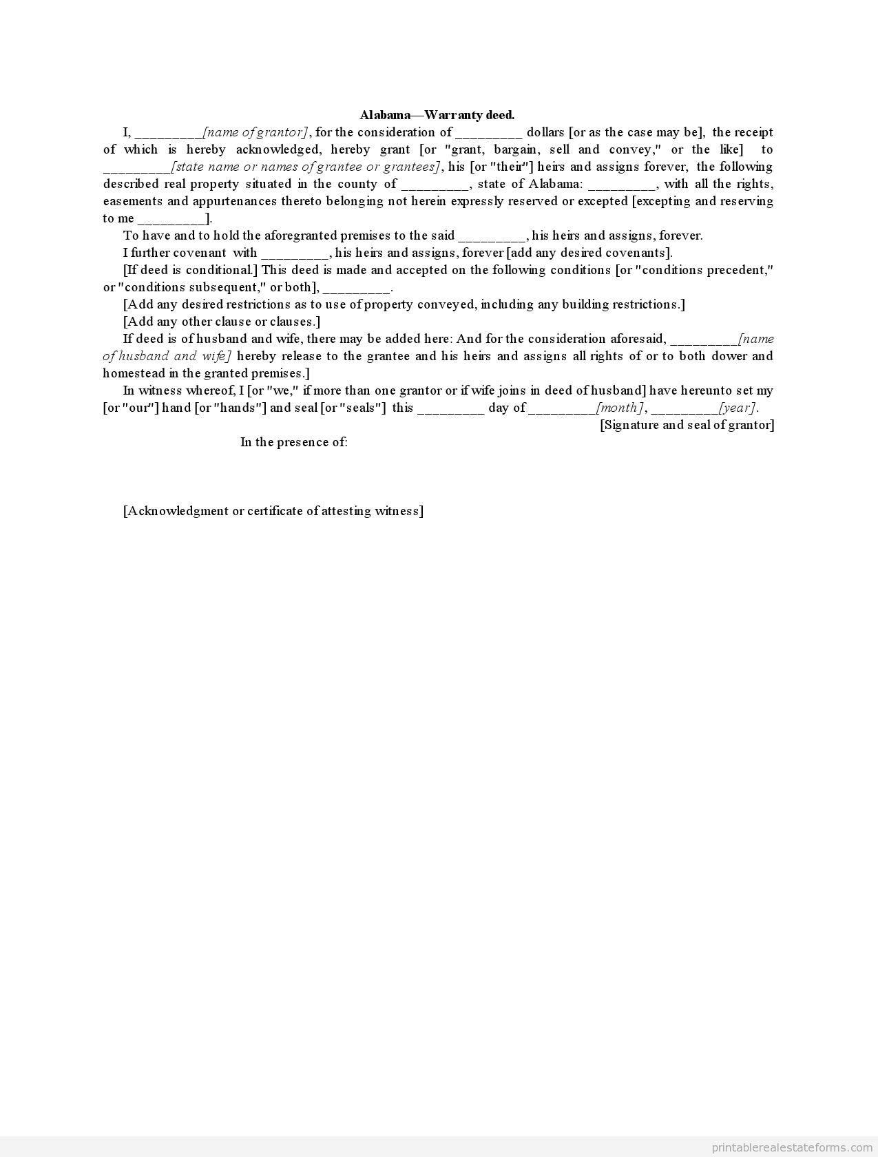 free warranty deed form alabama blank alabama form pdf. Black Bedroom Furniture Sets. Home Design Ideas