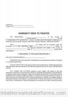 CLOSING -- 0050 -- WARRANTY DEED TO TRUSTEE