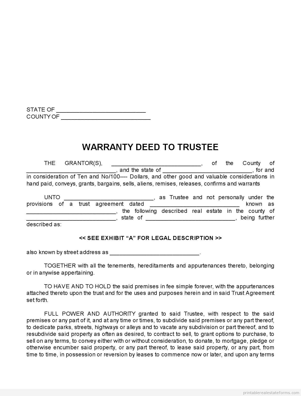warranty deed form template