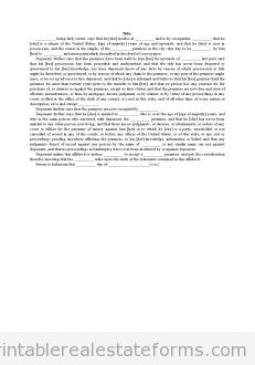 Affidavit - Title Undisturbed