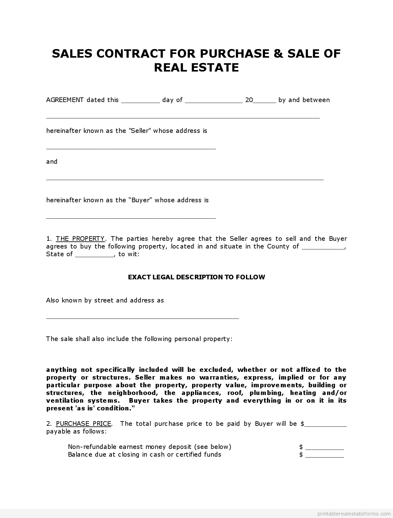 Printable Real Estate Forms  Free Sales Contract Template