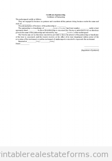 Certificate of Partnership