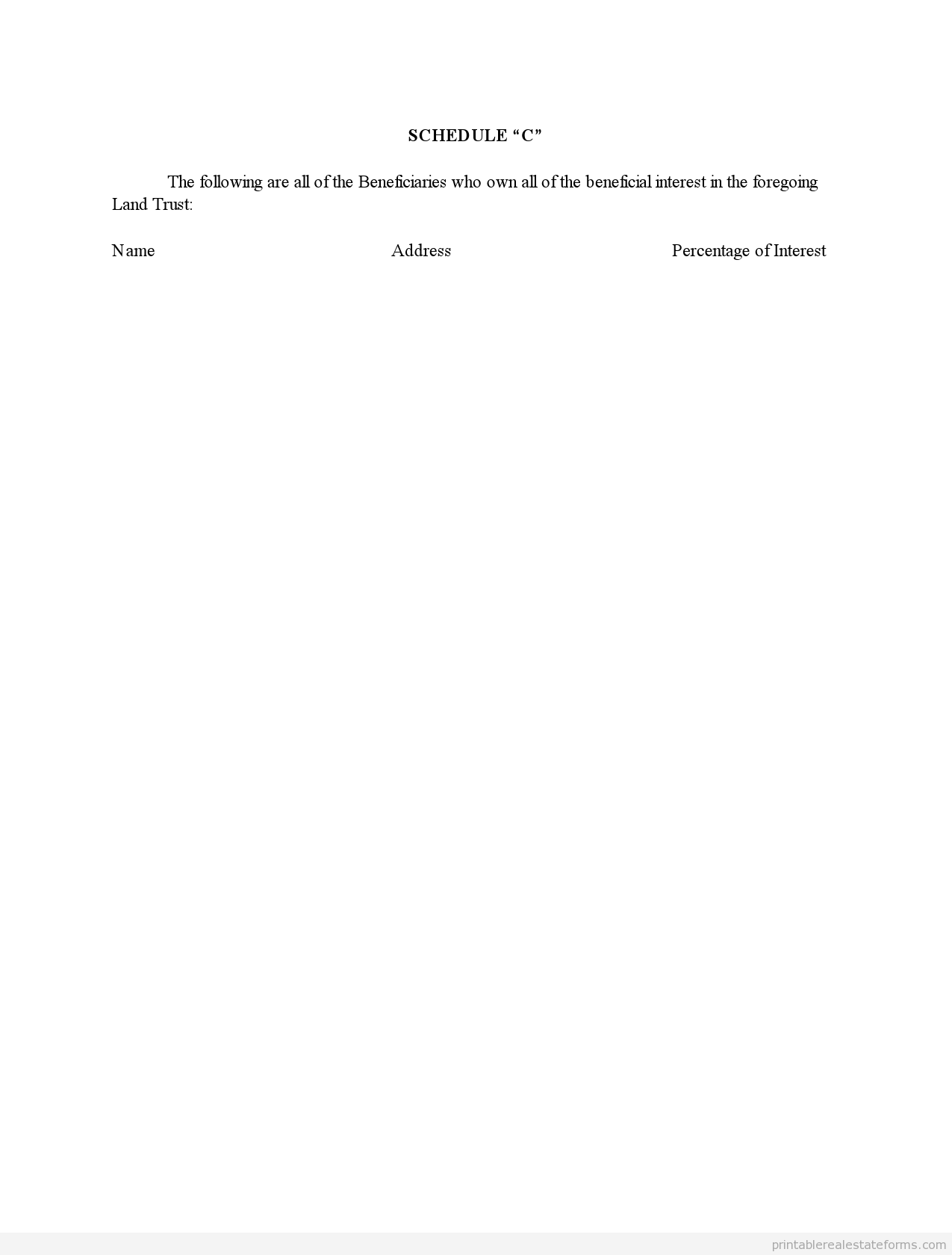 Free Land Trust Agreement Form Printable Real Estate Forms