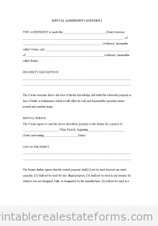 Rental Agreement Generic  Free Rental Agreement Template