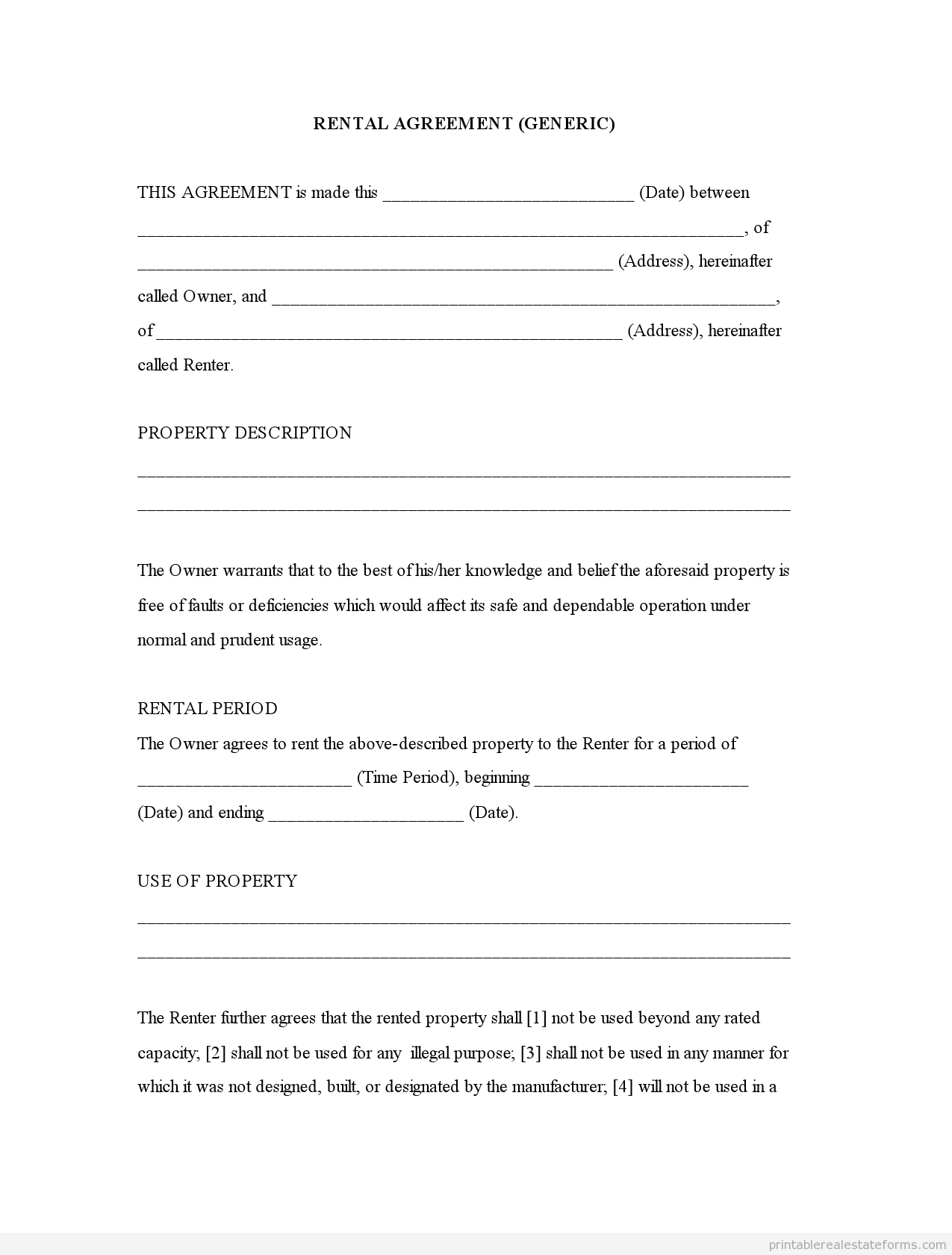 (GENERIC TEMPLATE) Rental Agreement Forms Free Printable  Lease Agreement Copy