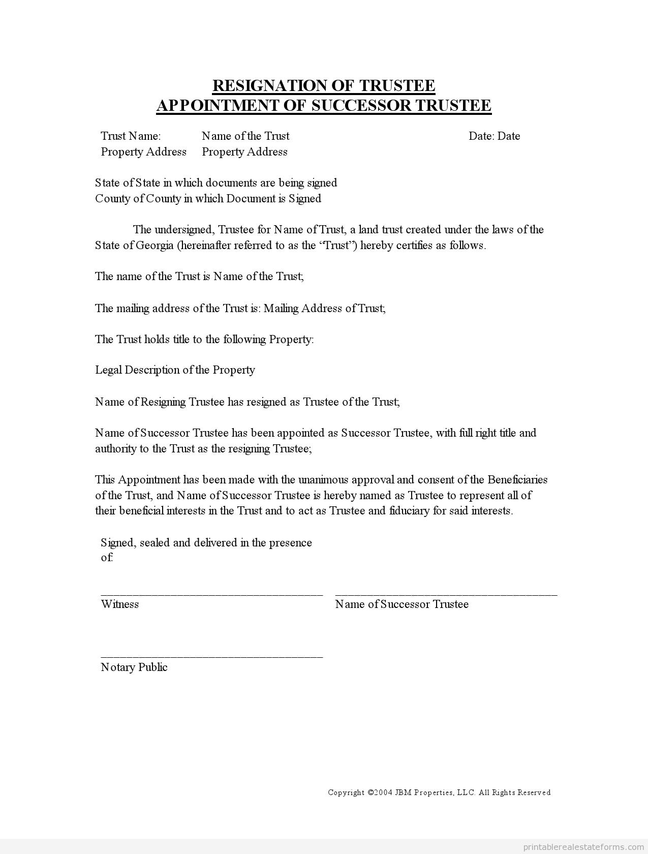 Trust Letter Sample