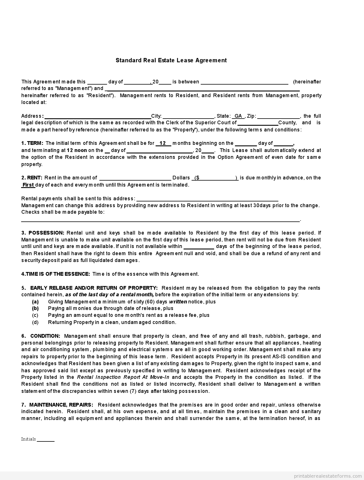 Free printable rental lease agreements form template for Standard tenancy agreement template