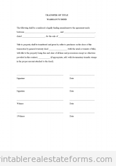 Free Warranty Deed Template Title Transfer Forms Word