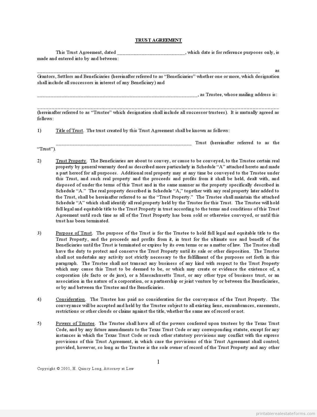Free Printable Trustagreement Form Pdf Word