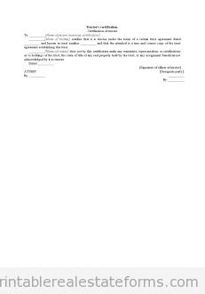 Trustee's Certification