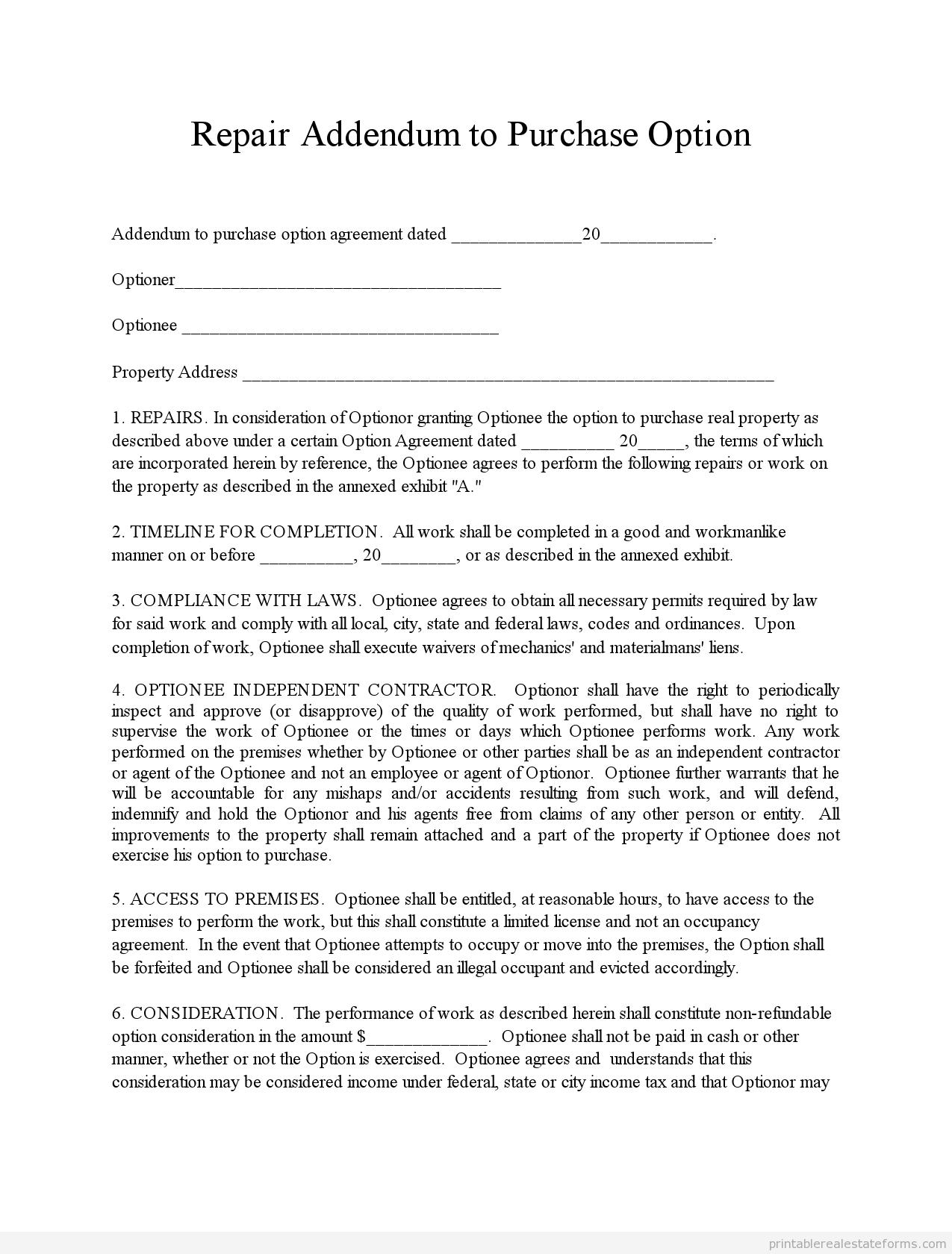 Real Estate Repair Addendum Addendum Letter Examples