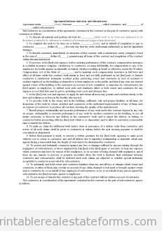 Agreement Between Contractor and Subcontractor
