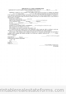 Application for Use, Occupancy and Building Permit