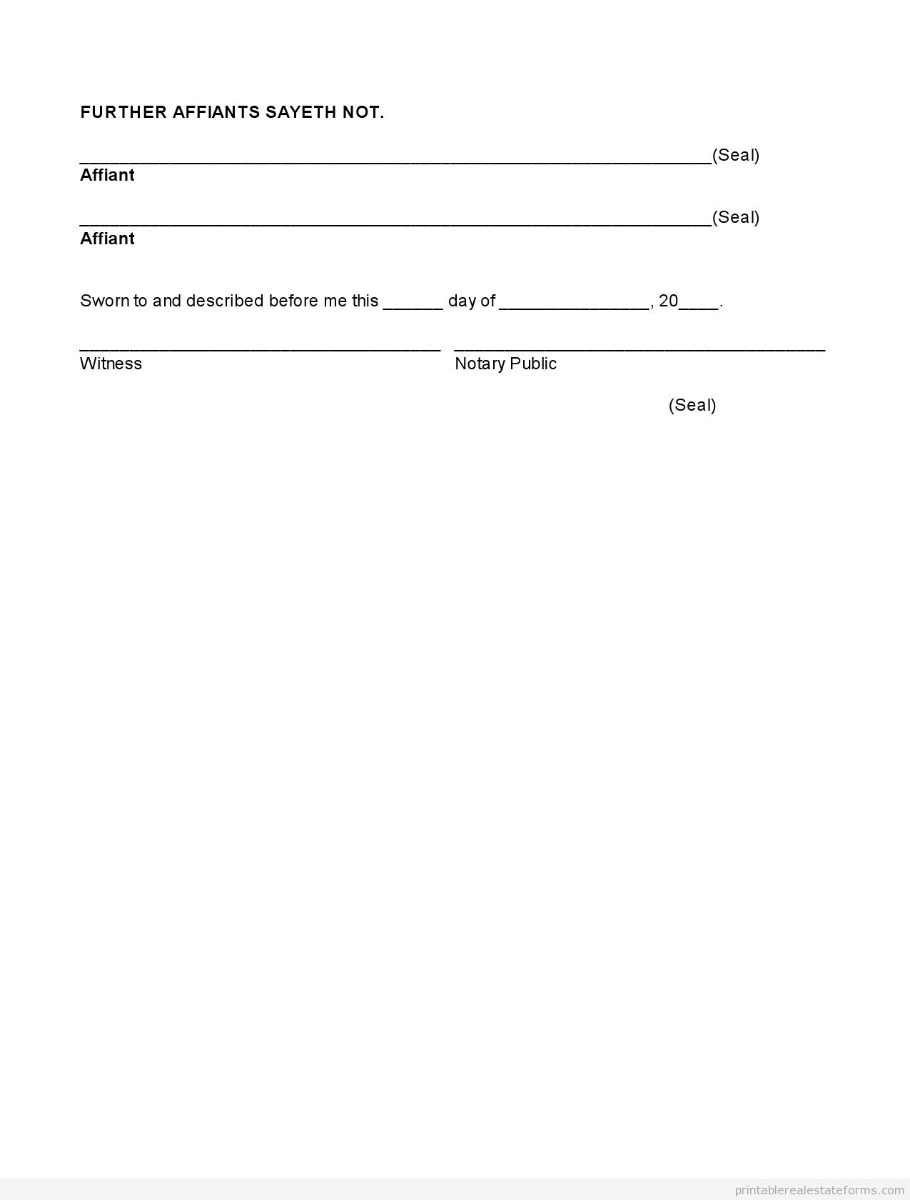 free printable real estate affidavit