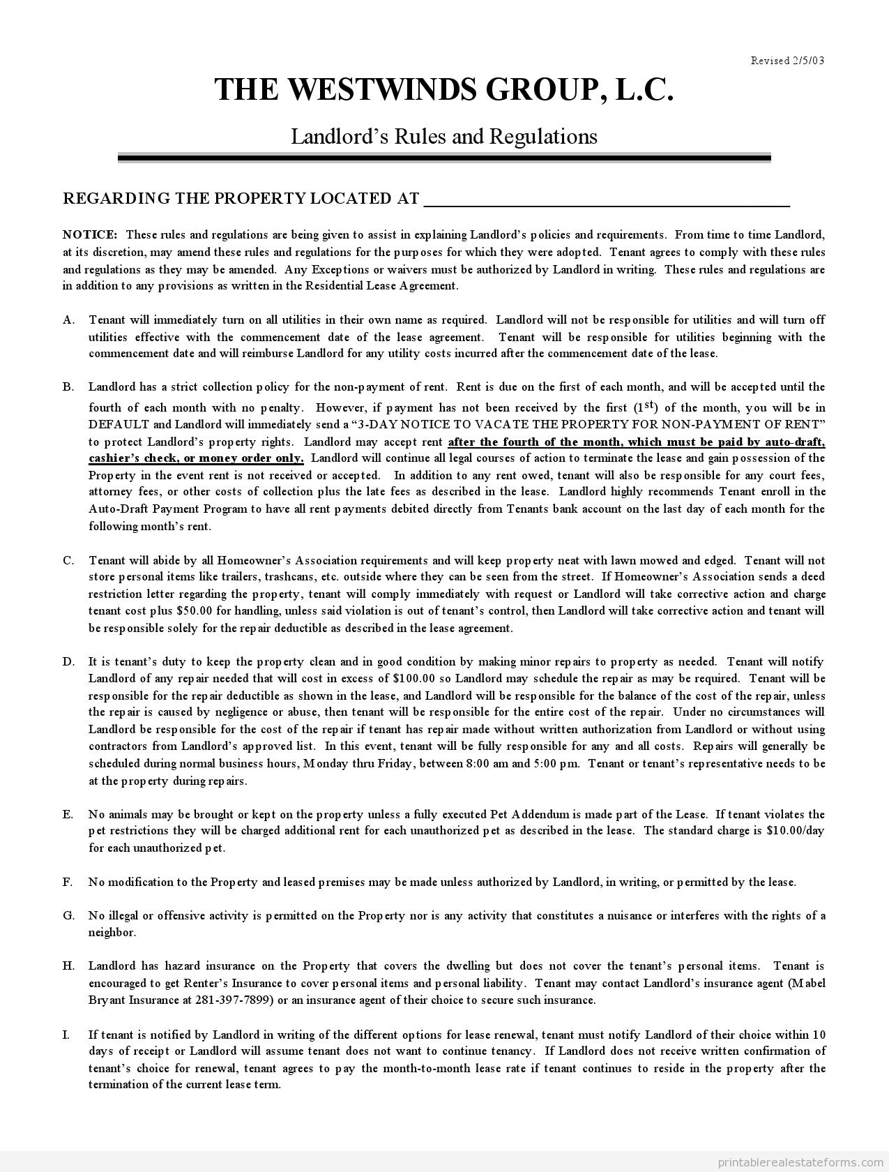 printable landlord u0026 39 s rules and regulations 2 form  pdf