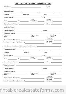 Preliminary Credit Application