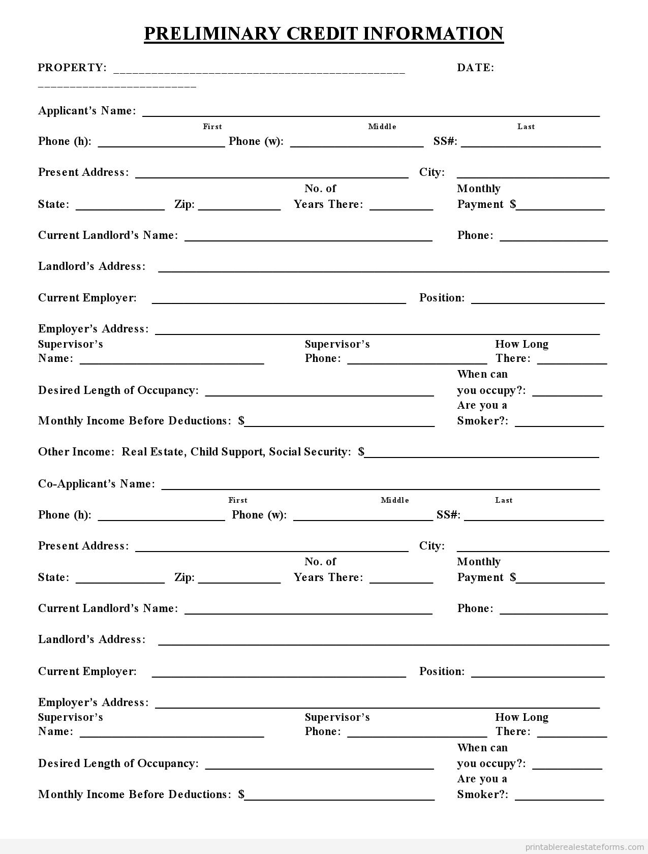 Free Printable Preliminary Credit Application Form Pdf