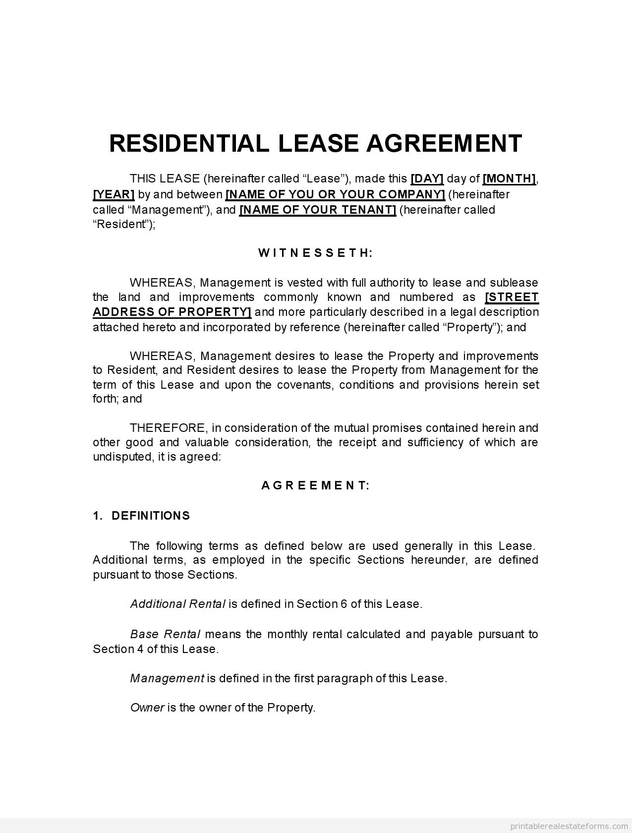 landlord lease agreement pro landlord lease example. Black Bedroom Furniture Sets. Home Design Ideas