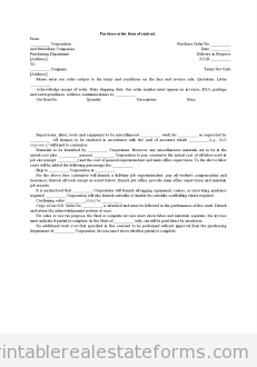 Purchase Order Form of Contract