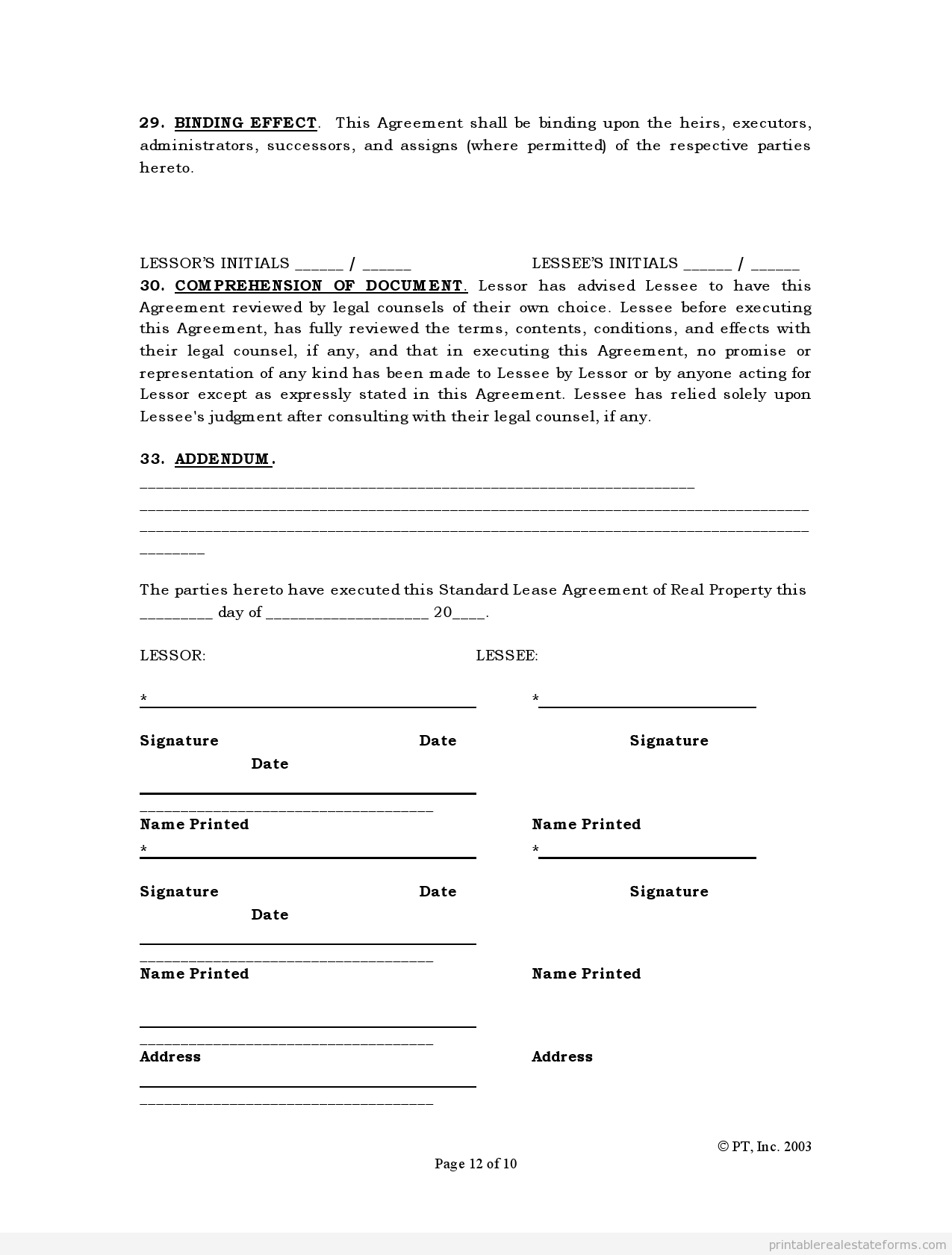 FREE Standard Lease Agreement FORM | Printable Real Estate ...
