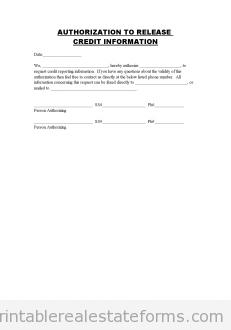 AUTHORIZATIO TO RELEASE CREDIT INFORMATION