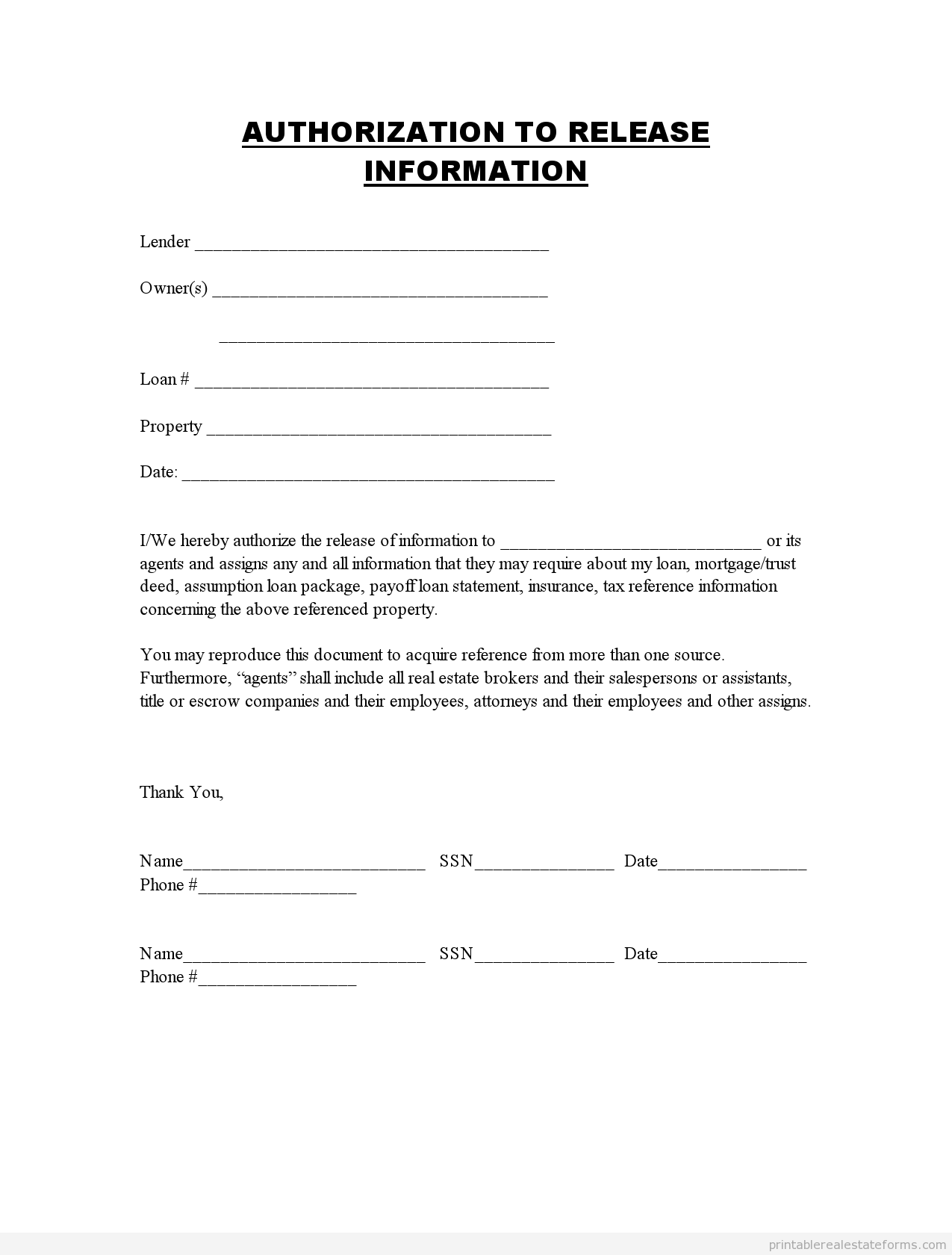 release of information forms printable  blank template