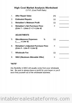 High Cost Market Analysis Worksheet