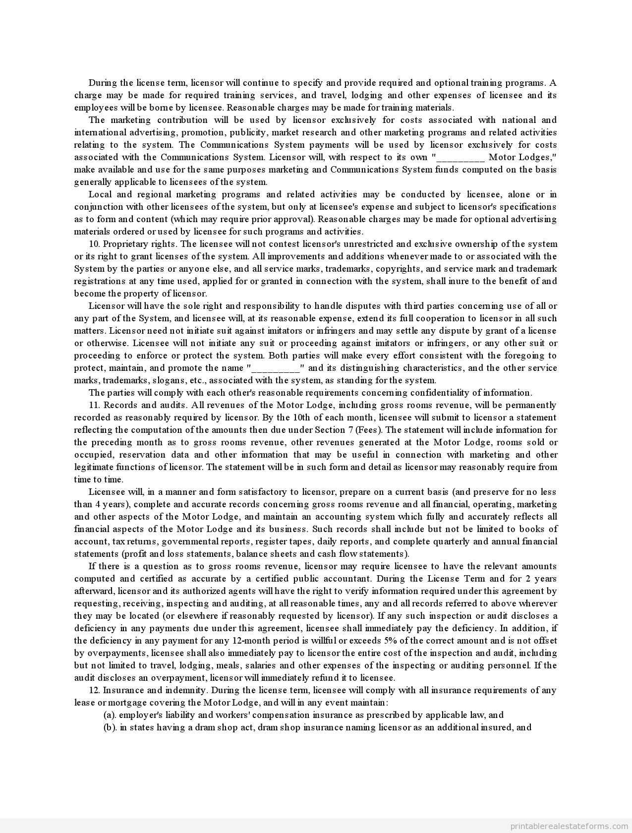 sample franchise agreement