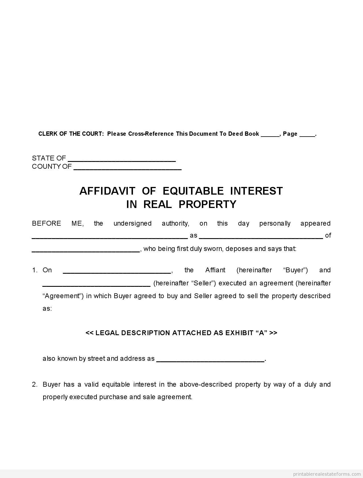 Printable Real Estate Forms  Printable Affidavit