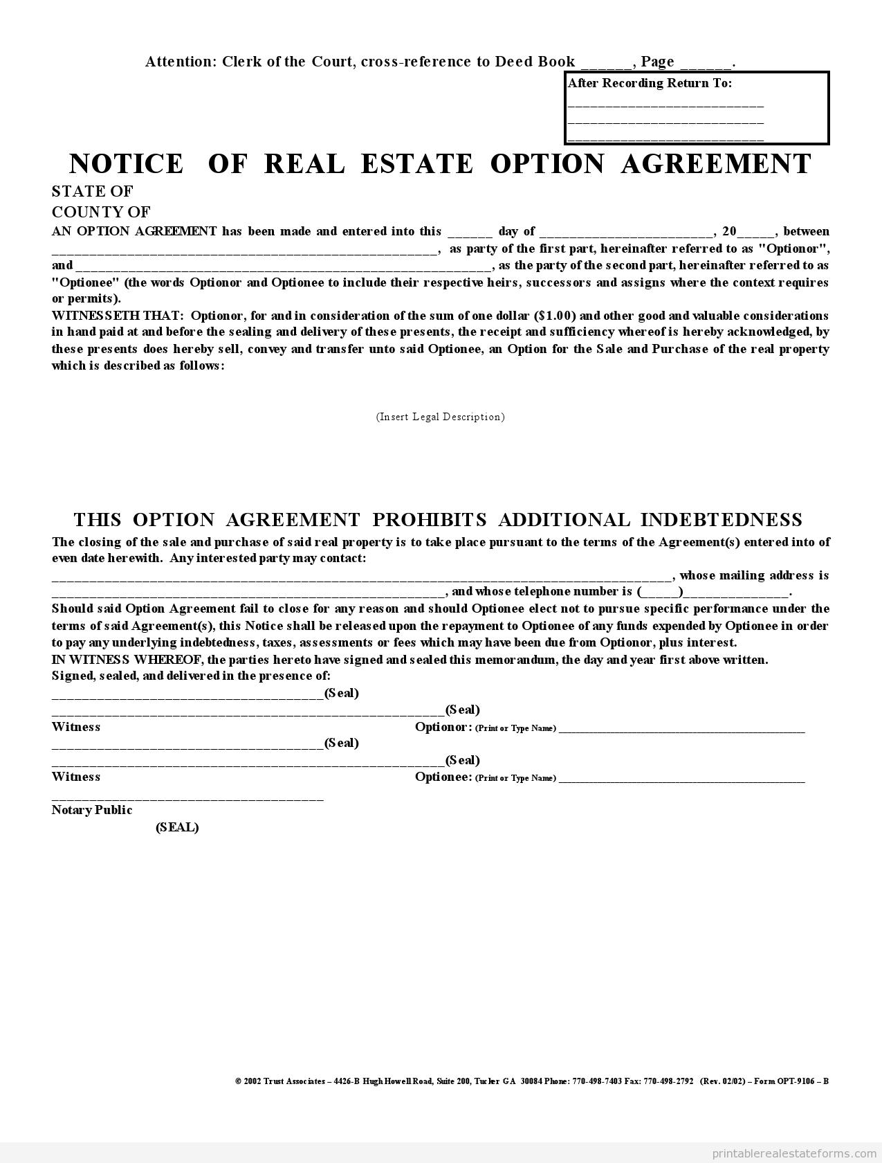 Affadavit & Memorandum Of Option 1 Party Agreement PDF