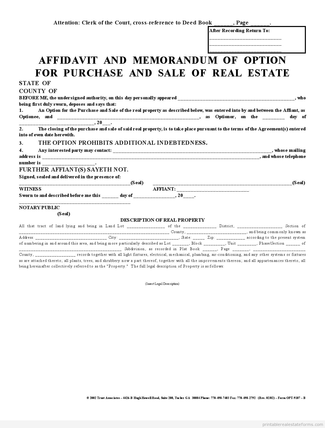 Free Printable Memorandum Option To Purchase BASIC