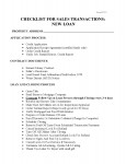 Checklist for Sales with New Loans
