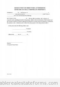 Corporate Resolution to Sell property