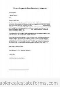 Down Payment Installment agreement