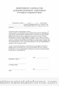 Indep Contractor Acknowledgement Agreement