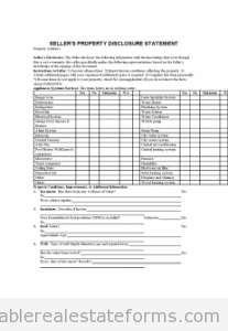 Free Printable Sellers Disclosure Statement Form Word