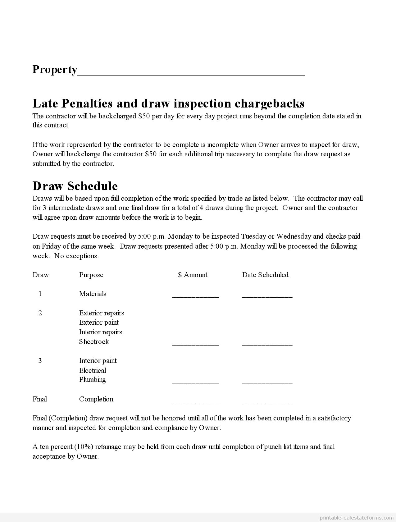 free printable subcontractor agreement form  word