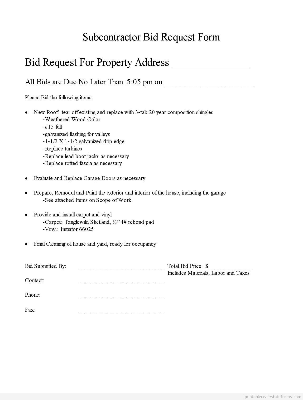 Free Subcontractor Bid Forms Get Generic Templates