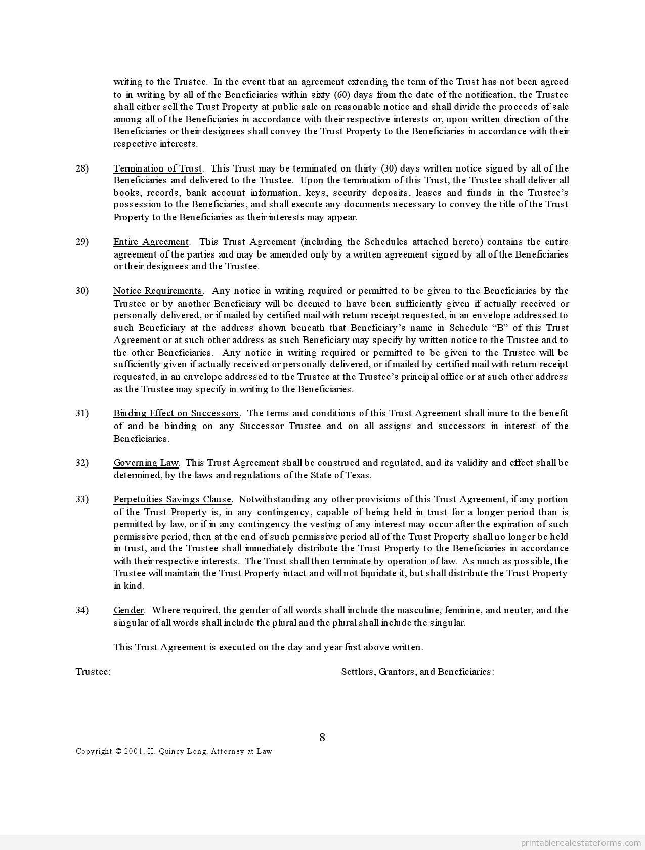 TrustAgreement0008 Printable Real Estate Forms